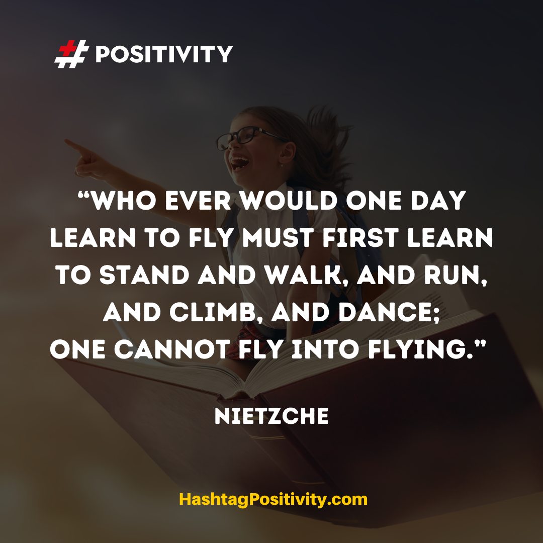 """Who ever would one day learn to fly must first learn to stand and walk, and run, and climb, and dance; one cannot fly into flying.""  -- Nietzche"