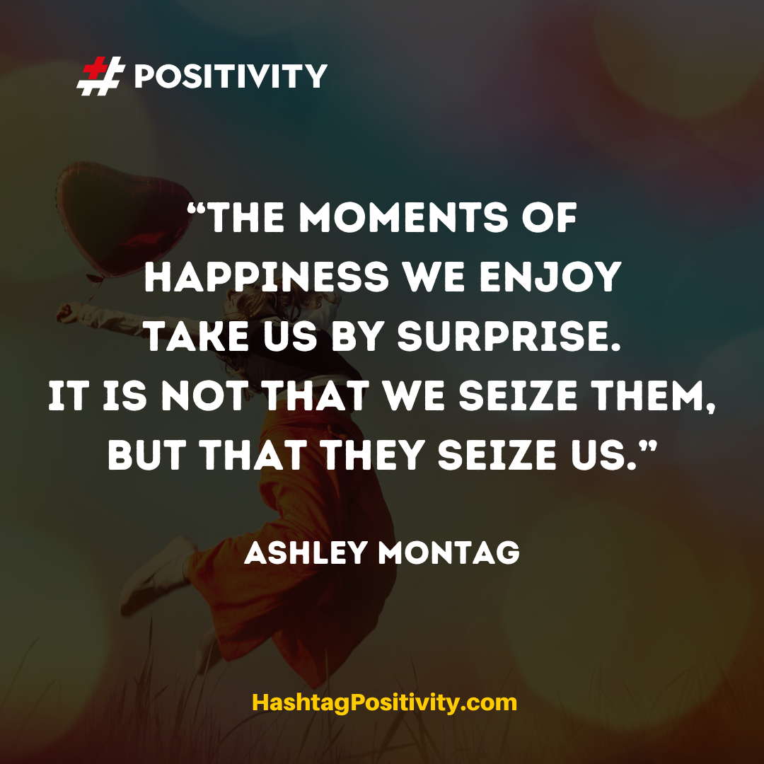 """The moments of happiness we enjoy take us by surprise. It is not that we seize them, but that they seize us."" -- Ashley Montag"