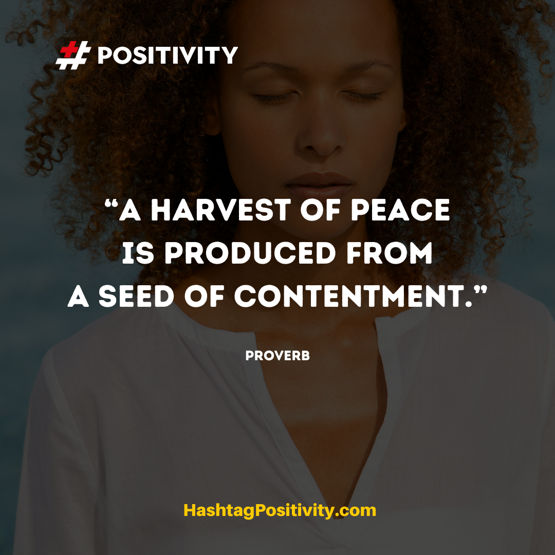 """A harvest of peace is produced from a seed of contentment."" -- American Proverb"