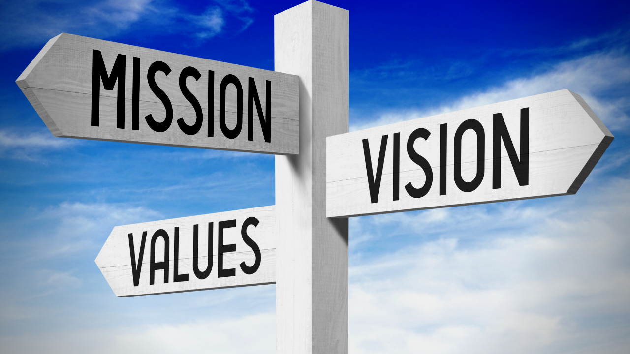 A sign pointing to value, vision, and mission.