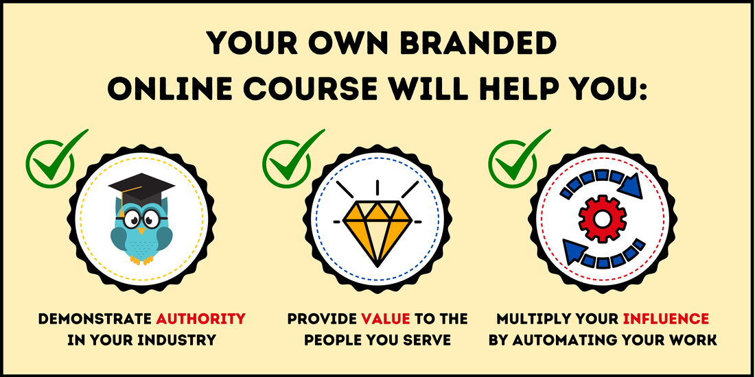 ​Having your own branded online course will help you demonstrate expertise in your industry, provide valuable content to the people you serve, and multiply your influence by automating your work.