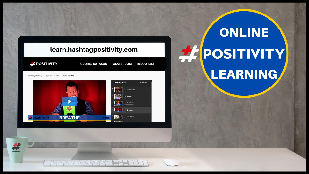 A computer screen displaying the Hashtag Positivity learning website.